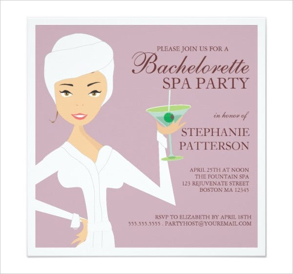 Bachelorette Spa Party Invitation