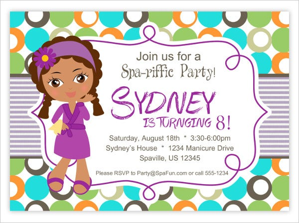 Little Girl Spa Party Invitation