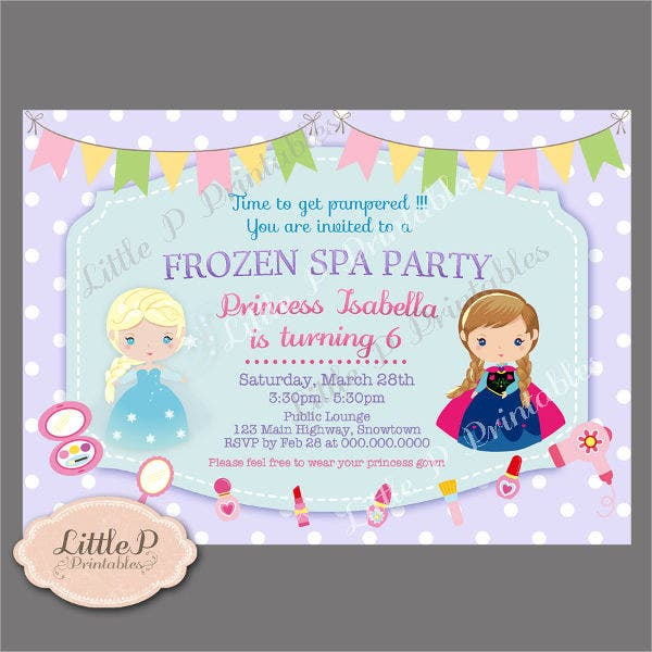 Frozen Spa Party Invitation