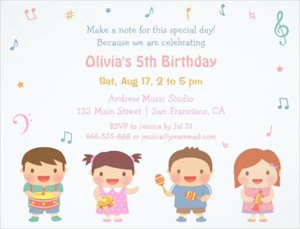 childrens music party invitation