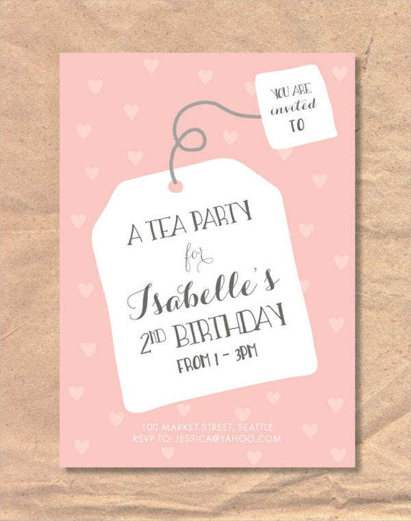childrens tea party invitation