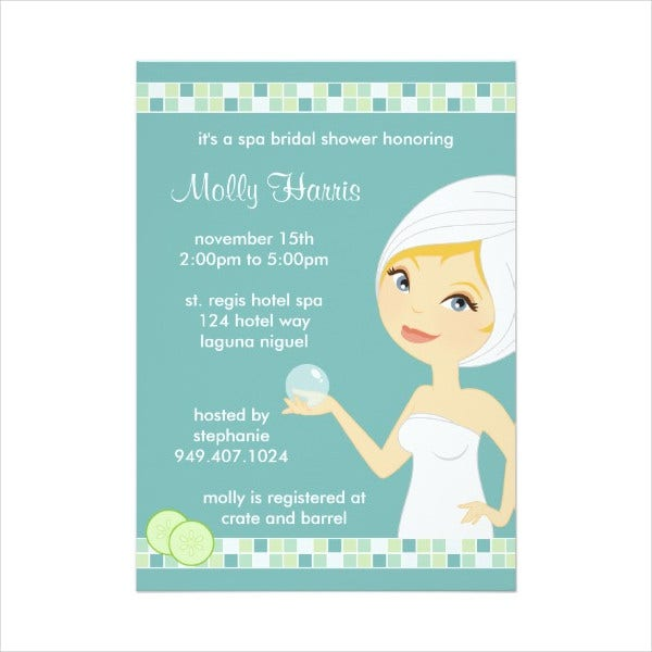 Bridal Shower Spa Party Invitation