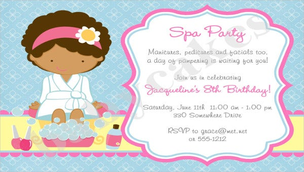 spa party invitation feature images