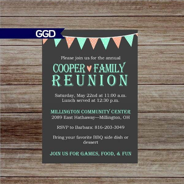 7 chalkboard invitation banners designs templates for Reunion banners design templates