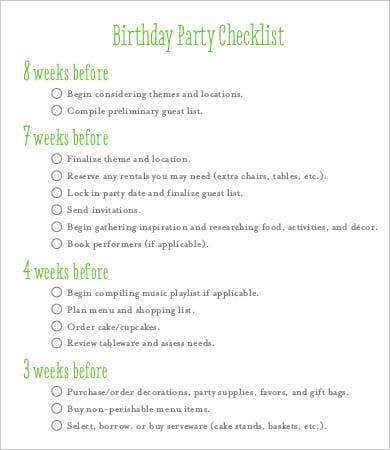 Birthday Party Checklist Template