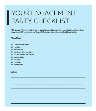 Engagement Party Checklist Template