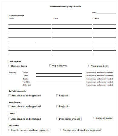 Cleanroom Cleaning Party Checklist Template