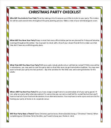 Christmas Party Checklist  Christmas Checklist Template