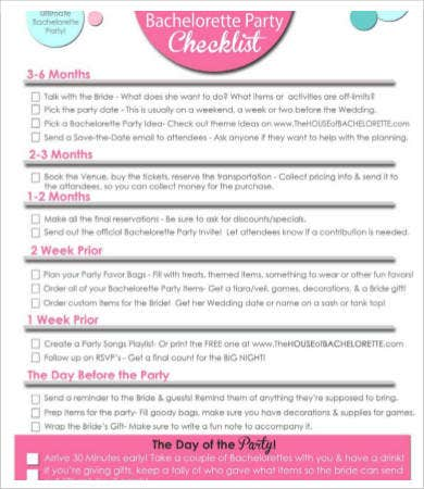 Bachelorette Party Checklist Template