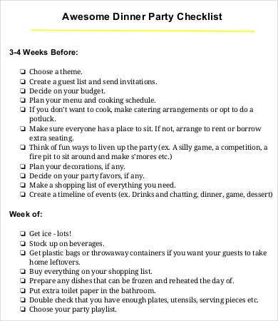 awesome dinner party checklist