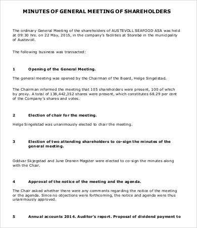 Minutes of General Meeting of Shareholders Template