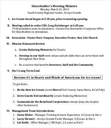 small business shareholder meeting minutes template