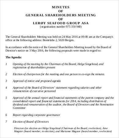 general shareholder meeting minutes template