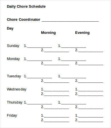 Daily Chore Schedule Template