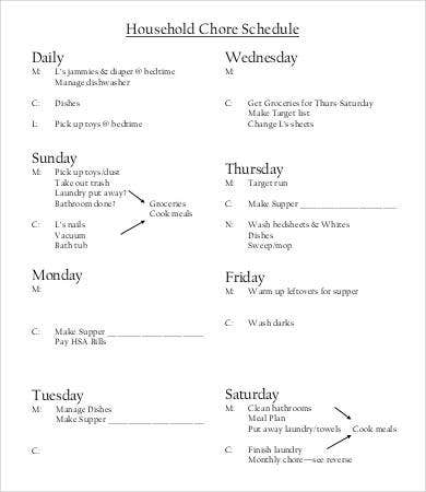 Household Chore Schedule Template