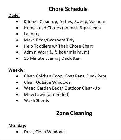 zone cleaning chore schedule template