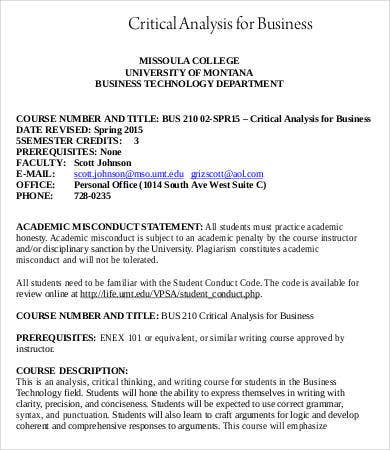 Business Critical Analysis Template