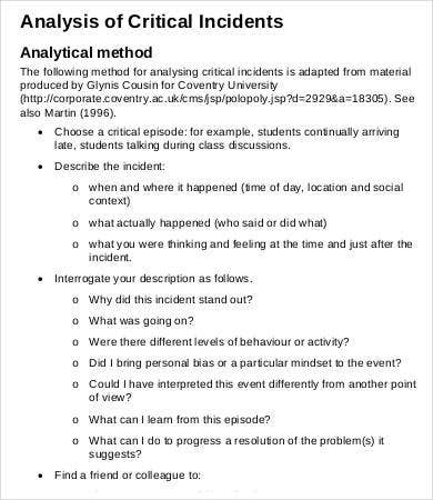 critical incident assignment essay Critical incident technique job analysis is a mechanism for identifying nature of all the jobs in an organization it helps in determining all the tasks, duties, and responsibilities related to a job.