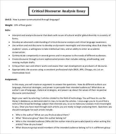 Critical Discourse Analysis Essay Template