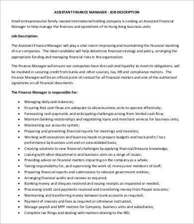Financial Manager Job Description - 8+ Free Word, PDF Format ...