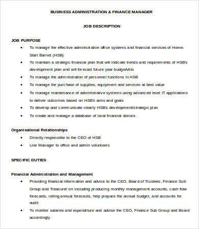 business administration finance manager job description