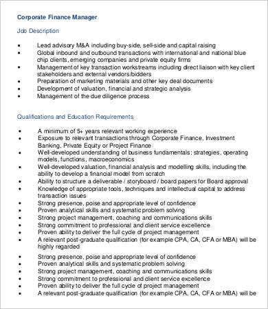 Corporate Finance Manager Job Description