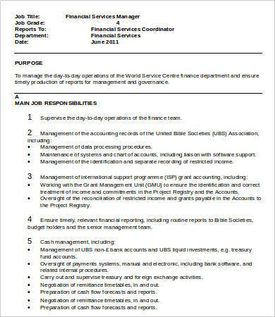 Financial Manager Job Description - 8+ Free Word, Pdf Format