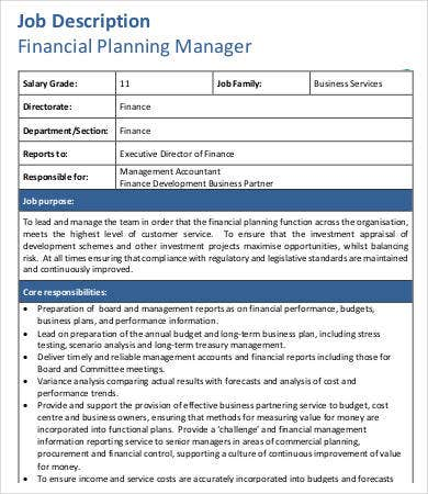 financial manager job description 8 free word pdf