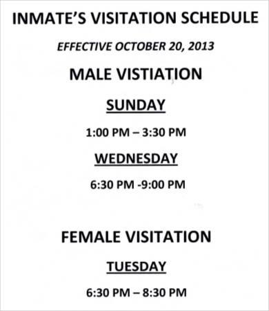 Inmate's Visitation Schedule