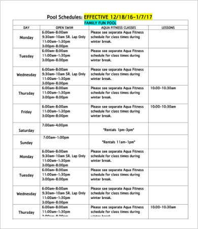 Winter Break Pool Schedule Template