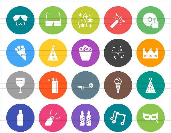 rounded flat party icons