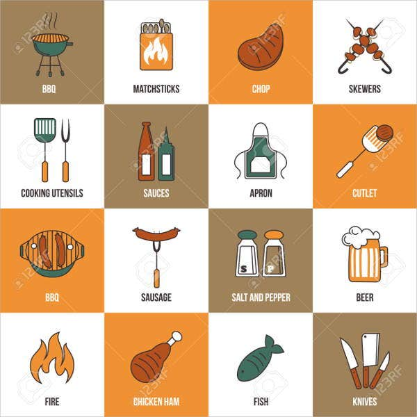 flat bbq party icons