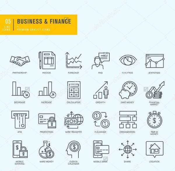 business-application-line-icons-set