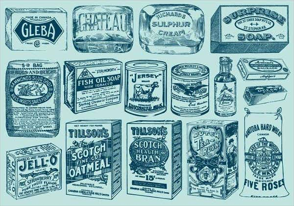 vintage cleaning product packaging