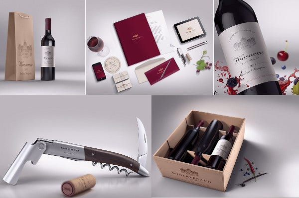 wine box bag packaging template