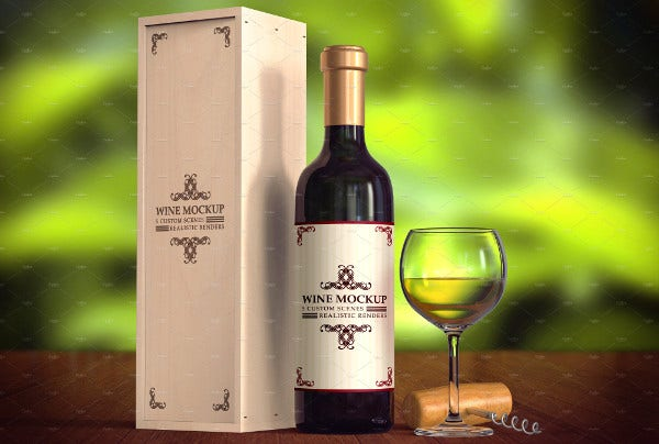 Realistic Wine Box Packaging Design