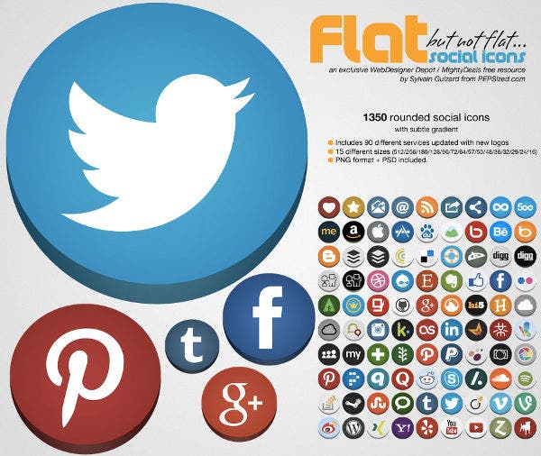 Vector Flat Social Media Flat Icons