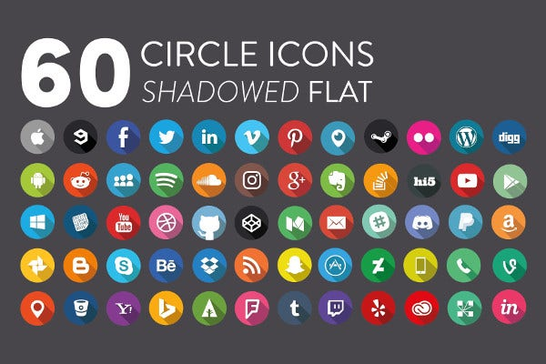Flat Shadowed Social Media Icons