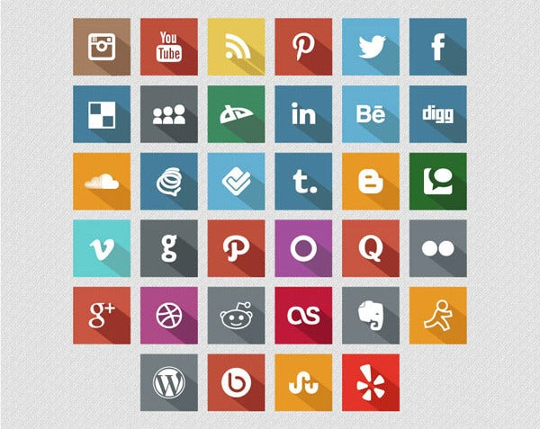 Flat Long Shadow Social Media Icons