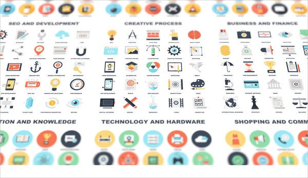 flat design business and technology icons