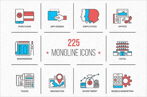 modern flat business and technology icons