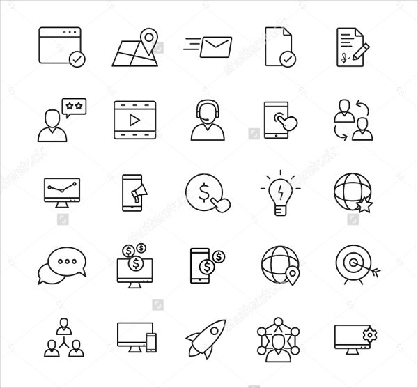 business and technology linear icons