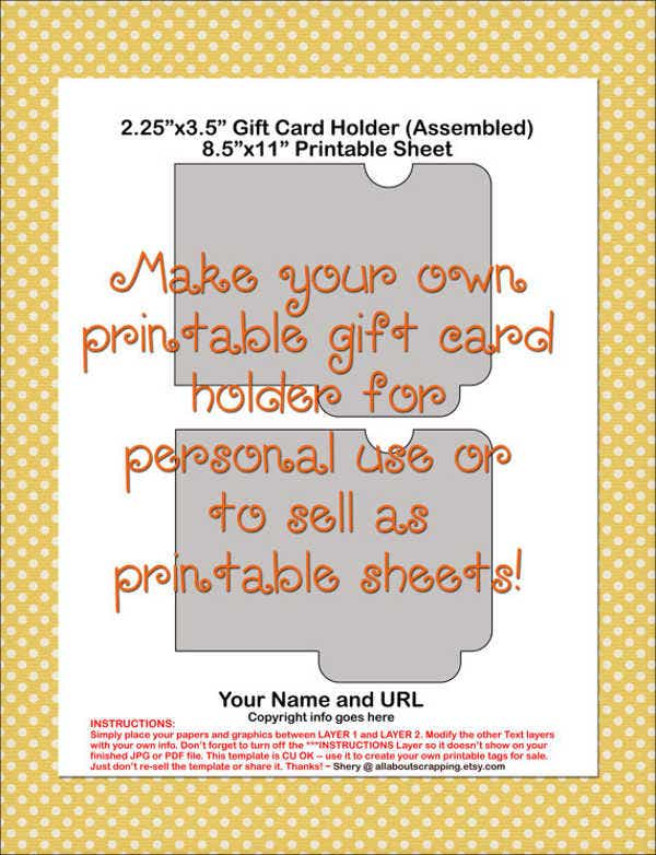 printable gift card holder template