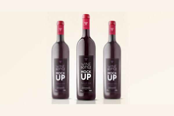 wine bottle psd packaging
