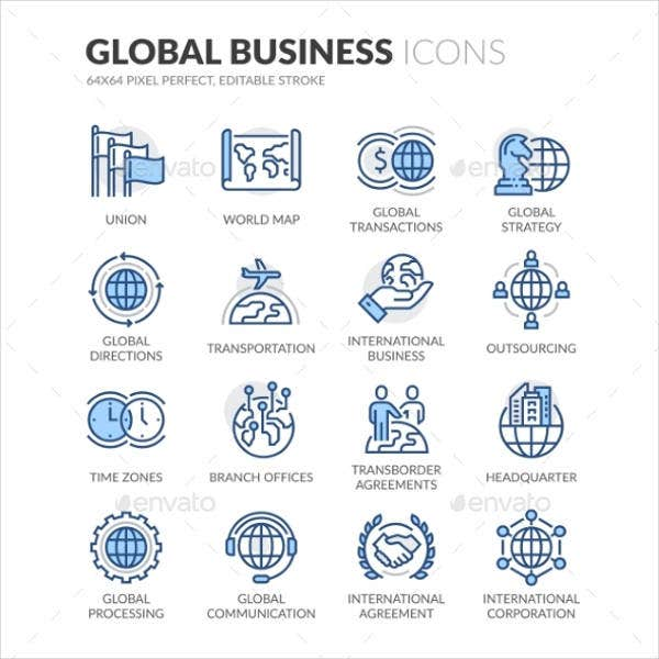 global business icons set