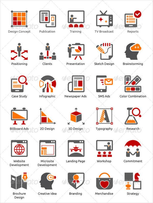 business and advertising agency icons