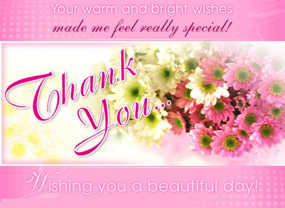 10 Birthday ThankYou Cards Design Templates – Thank You for the Birthday Card