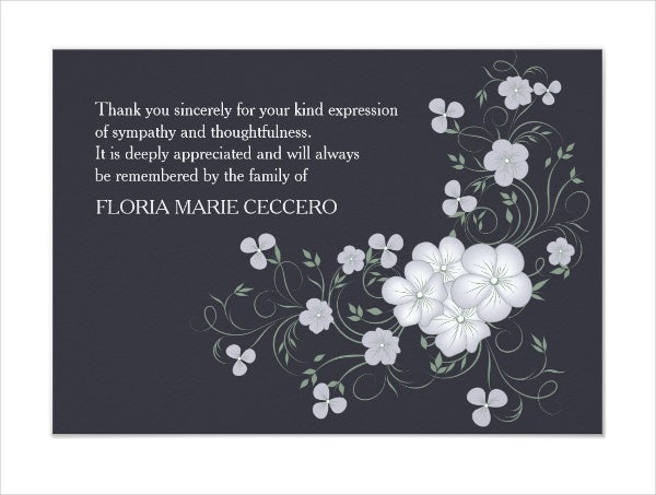 6  funeral thank-you cards