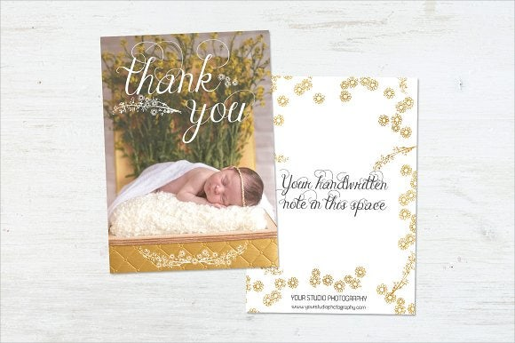 handmade baby shower thank you card