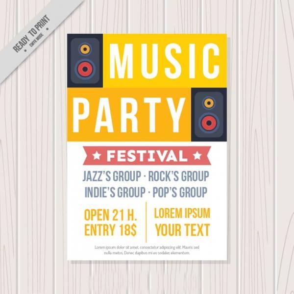 vector music party brochure